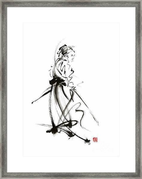 Samurai Sword Bushido Katana Martial Arts Sumi-e Original Ink Painting Artwork Framed Print
