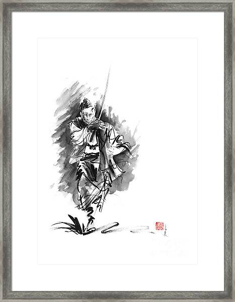 Samurai Sword Bushido Katana Martial Arts Sumi-e Original Running Run Man Design Ronin Ink Painting  Framed Print