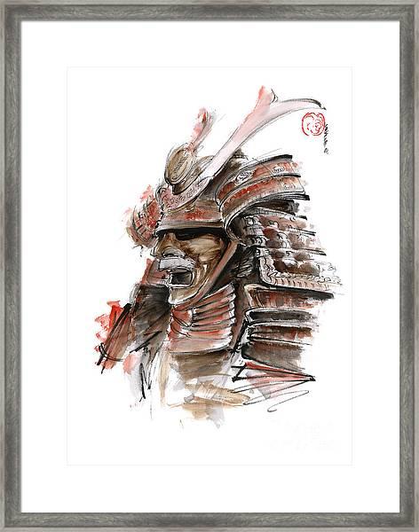 Samurai Warrior Japanese Armor  Full Face Mask Framed Print