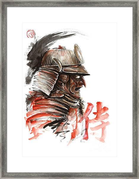 Samurai Warrior  Tengu Mask  Japanese Calligraphy. Framed Print