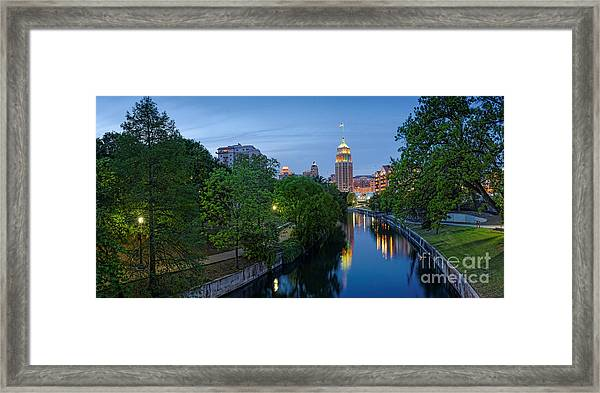 San Antonio Skyline Tower Life Building And Riverwalk From Cesar Chavez Boulevard - Texas Framed Print