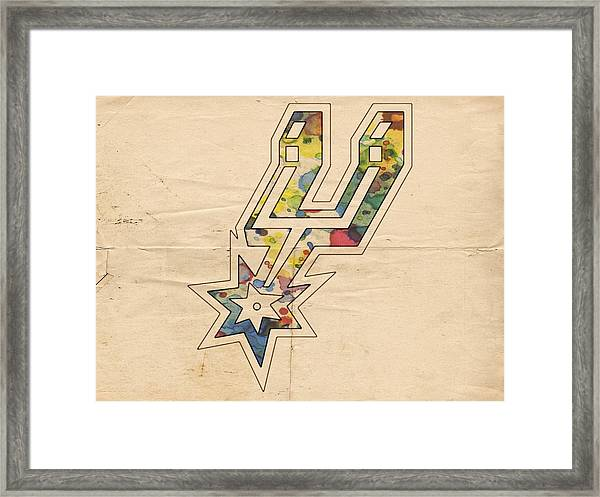 San Antonio Spurs Logo Art Framed Print