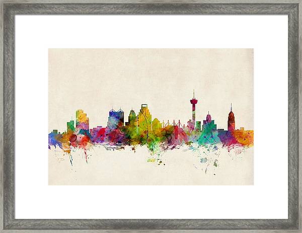 San Antonio Texas Skyline Framed Print