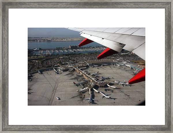 San Diego Airport Plane Wheel Framed Print