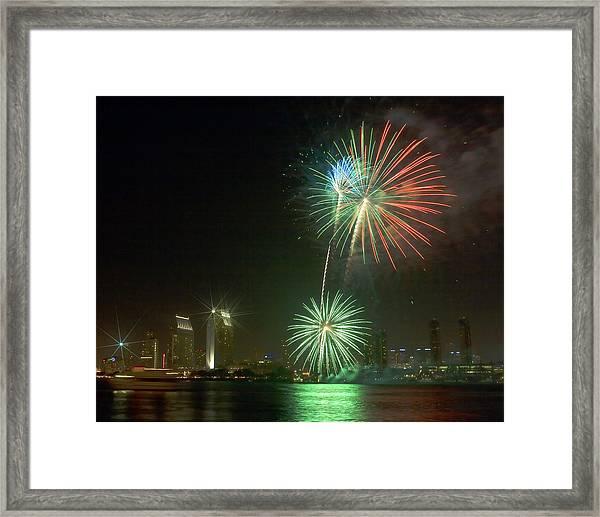 San Diego Cityscape Fireworks Framed Print