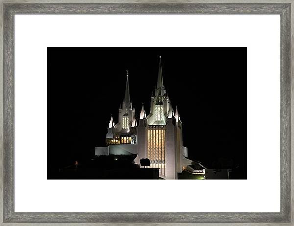 San Diego Mormon Temple At Night Framed Print
