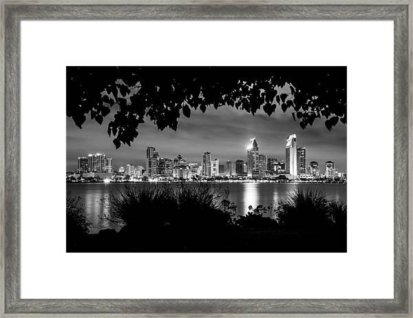 San Diego Skyline Framed 2 Black And White Framed Print