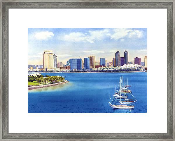 San Diego Skyline With Meridien Framed Print