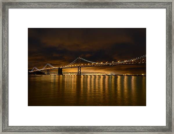 San Francisco - Bay Bridge At Night Framed Print