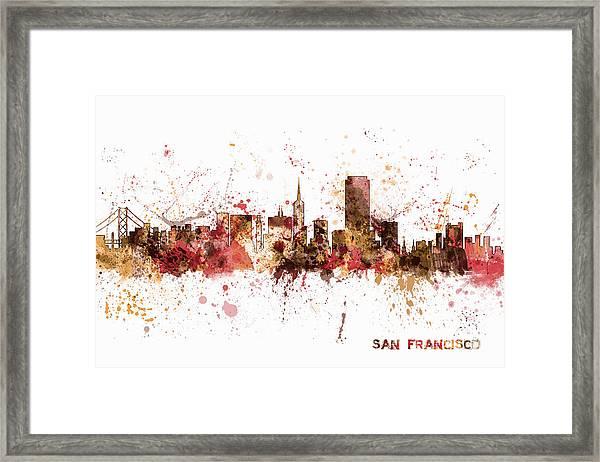 San Francisco California City Skyline Framed Print