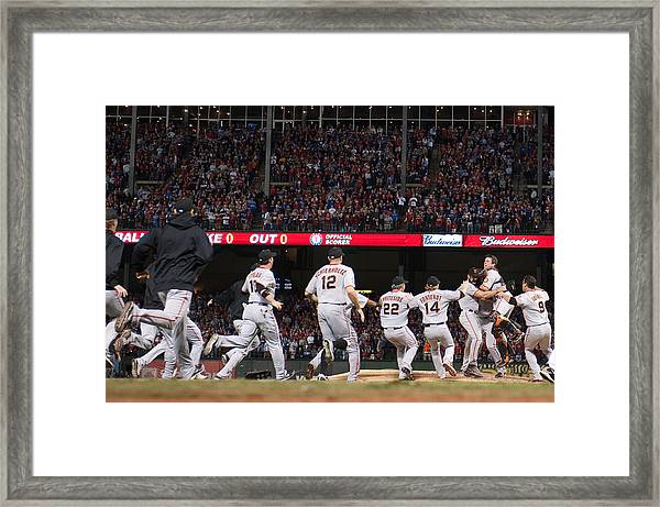 San Francisco Giants V Texas Rangers, Game 5 Framed Print by Rob Tringali