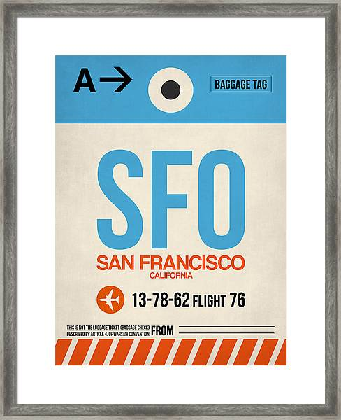 San Francisco Luggage Tag Poster 1 Framed Print