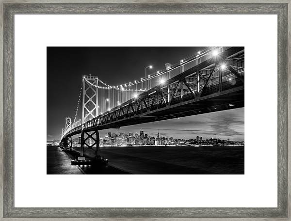 San Francisco - Under The Bay Bridge - Black And White Framed Print