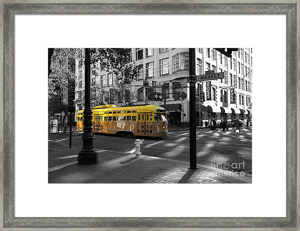 Framed Print featuring the photograph San Francisco Vintage Streetcar On Market Street - 5d19798 - Black And White And Yellow by Wingsdomain Art and Photography