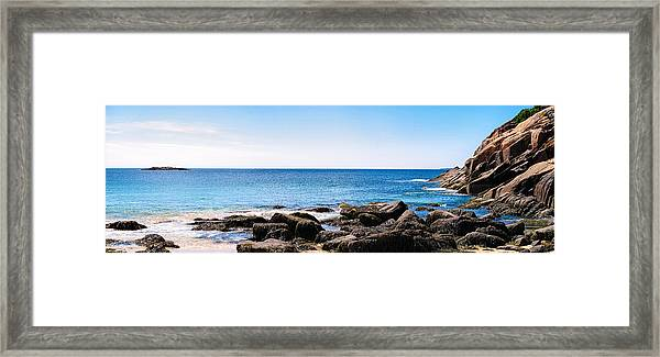Sand Beach Rocky Shore   Framed Print