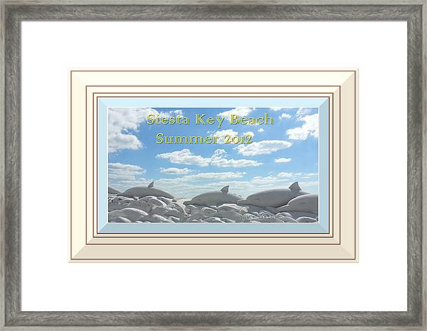Sand Dolphins - Digitally Framed Framed Print