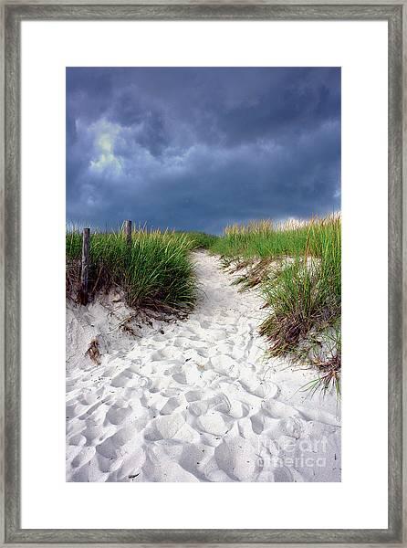 Sand Dune Under Storm Framed Print