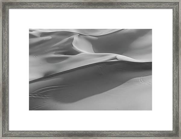 Sand Dunes In The Desert, Monochrome Framed Print