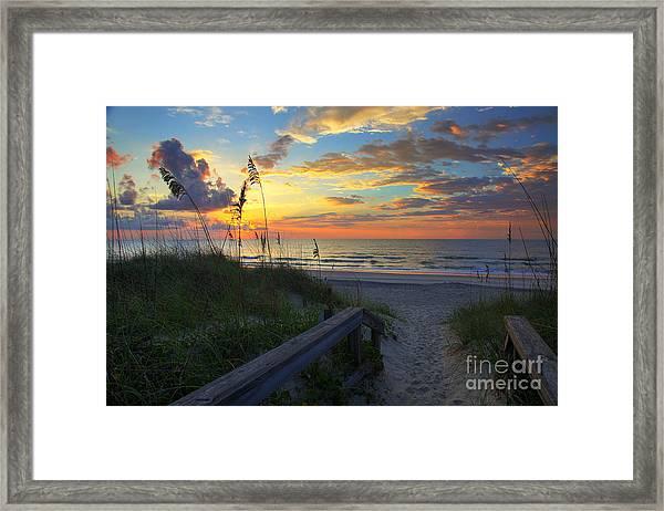 Sand Dunes On The Seashore At Sunrise - Carolina Beach Nc Framed Print