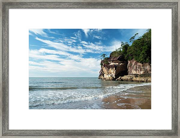 Sandstone Cliffs By Ocean At Telok Framed Print