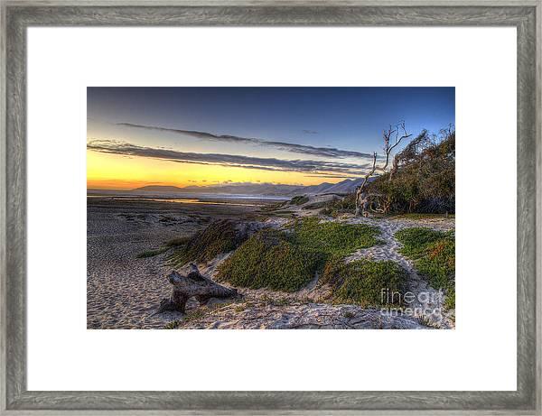 Sandy Sunset Beach Framed Print