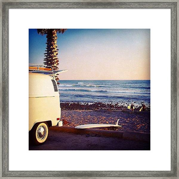 Vw Bus And Surfers At San Onofre Framed Print
