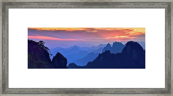 Sanqing Mountain Sunset Framed Print