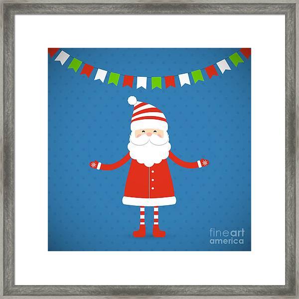 Santa Claus On A Blue Background Framed Print