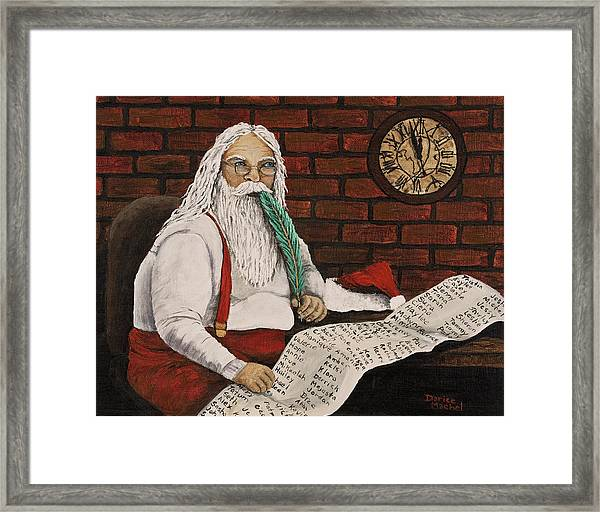 Santa Is Checking His List Framed Print