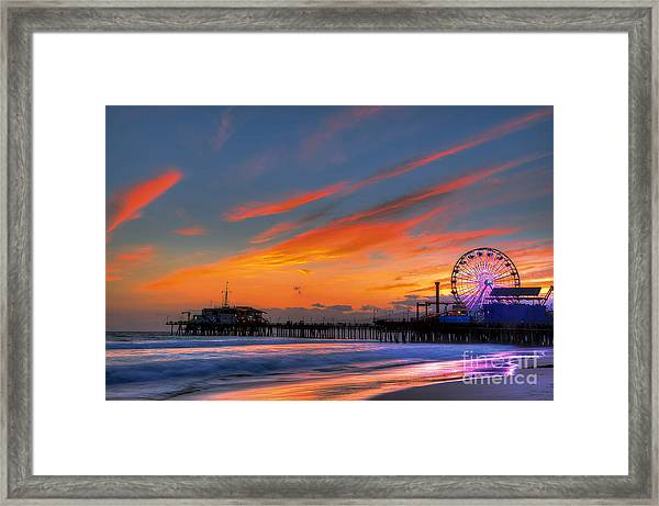 Santa Monica Pier At Dusk Framed Print
