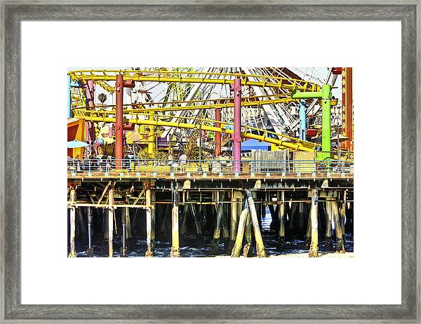 Santa Monica Pier Over And Under Framed Print