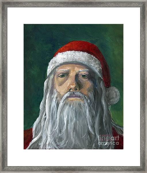 Santa Portrait Art Red And Green Framed Print