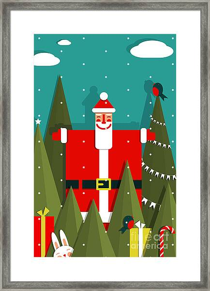 Santa With Gifts And Presents In Woods Framed Print