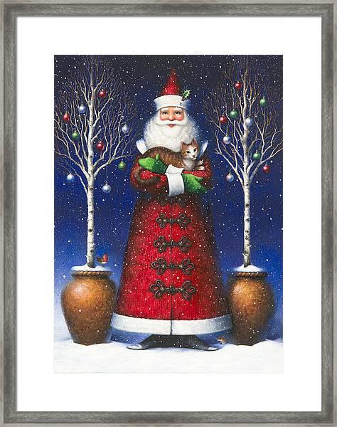 Santa's Cat Framed Print