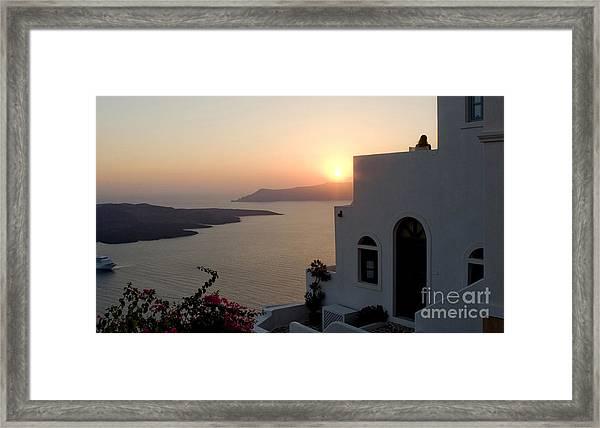 Santorini Sunset 24x14 Framed Print