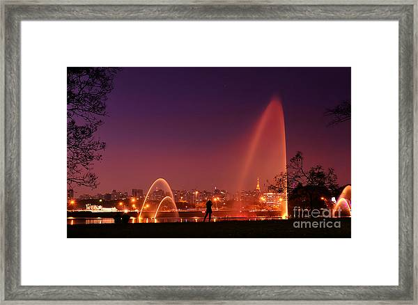 Sao Paulo - Ibirapuera Park At Dusk - Contemplation Framed Print
