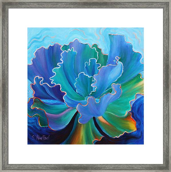 Framed Print featuring the painting Sapphire Solitaire by Sandi Whetzel