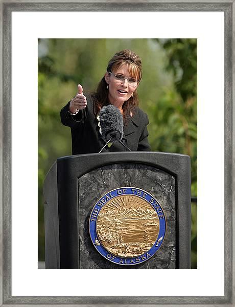 Sarah Palin Hands Over Power To Alaska's Lt. Gov. Sean Parnell Framed Print by Eric Engman