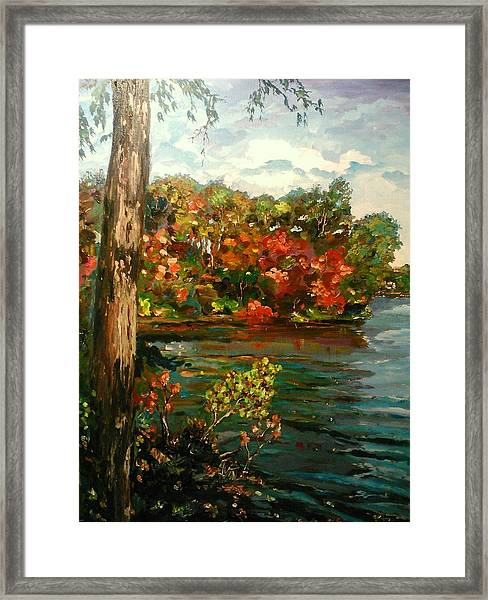 Framed Print featuring the painting Sassaquin Pond by Ray Khalife