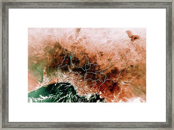 Satellite Mosaic Of Nigeria Framed Print by Mda Information Systems/science Photo Library