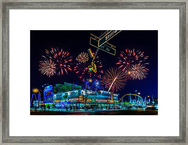Saturday Night At Coney Island Framed Print