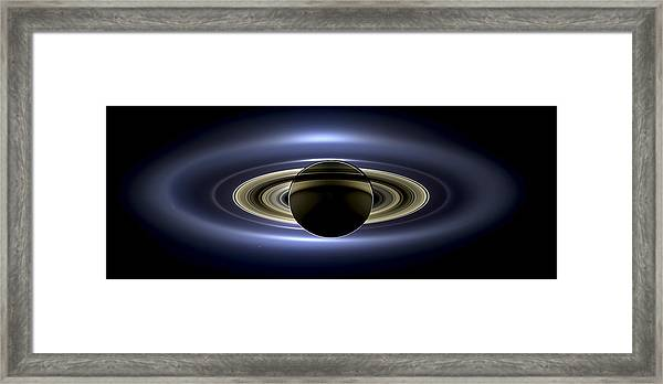 Saturn Mosaic With Earth Framed Print