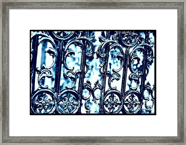 Southern Scrollwork In Blue Framed Print