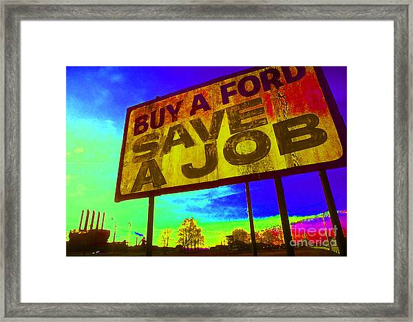 Save A Job Framed Print
