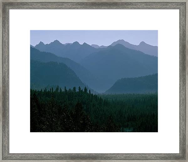 Sawtooth Mountains Silhouette Framed Print