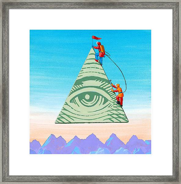 Scaling The Financial Pyramid Framed Print by Jonathan Evans