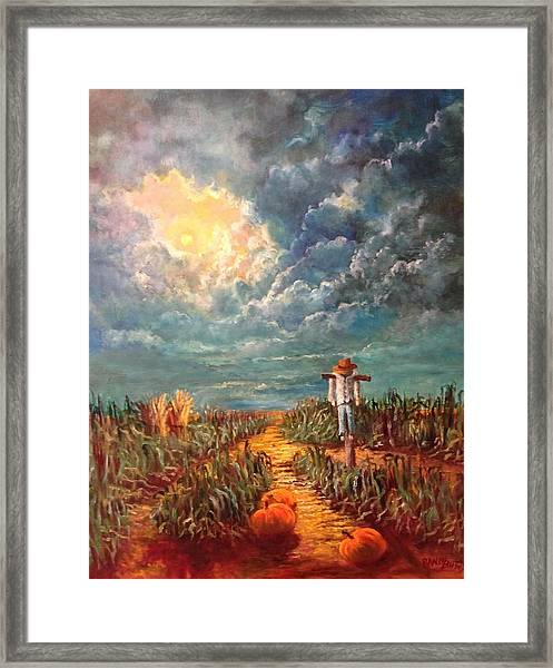 Scarecrow, Moon, Pumpkins And Mystery Framed Print