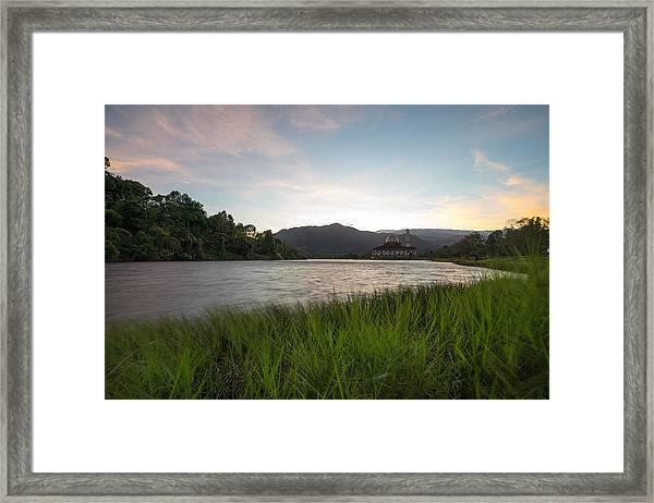 Scenic Shot Of Calm Lake Against Mountain Range Framed Print by Shaifulzamri Masri / EyeEm
