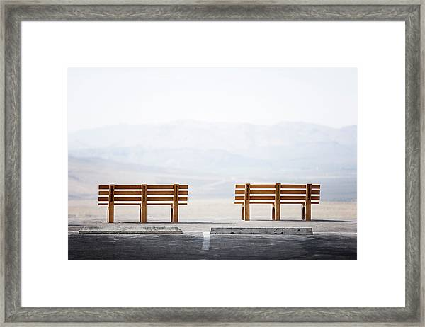 Scenic View And Benches At The High Framed Print