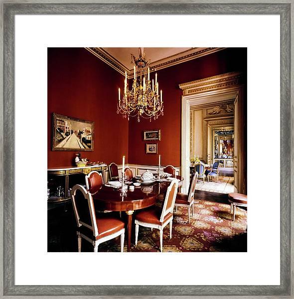 Schlumberger's Dining Room Framed Print by Horst P. Horst